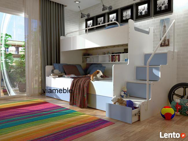 łóżko Piętrowe Dla Dzieci 3 Osobowe Z Materacami Szufladami