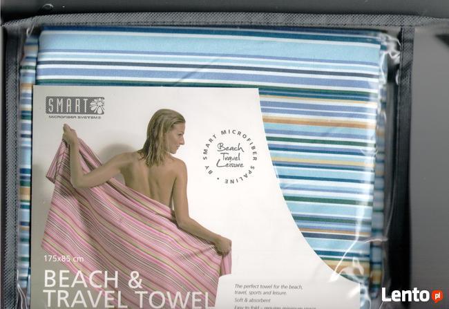 Ręcznik plażowy z microfibry niebieski w paski Smart