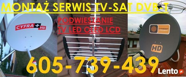 Podwieszanie tv,605 739 439 serwis montaż anten tv sat dvb-t