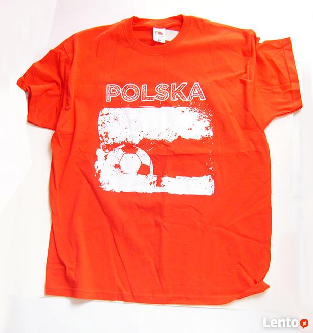 piłkarska koszulka rozmiar L, czerwona koszulka z nadrukiem