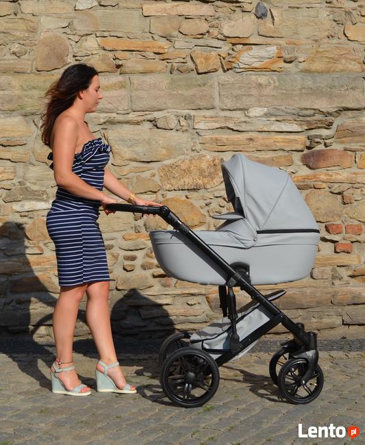 Nowy Wózek Dziecięcy Berco Skóra 3w1 z fotelem (nosidełko)
