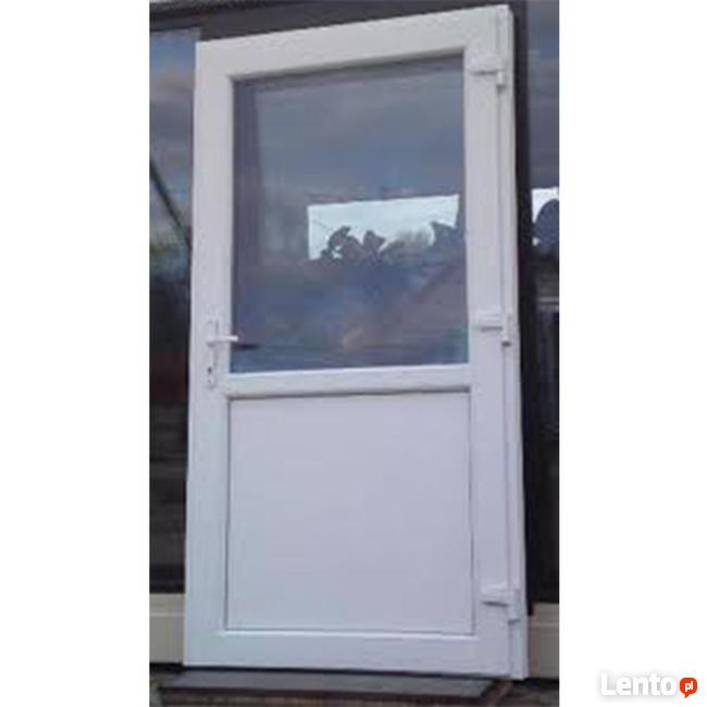 100 x 210 białe DRZWI PCV, Klamka Gratis szyba panel