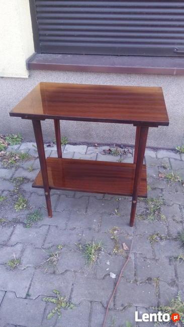Stolik RTV PRL, Drewniany stolik kawowy, Stylowe Meble, Fotel