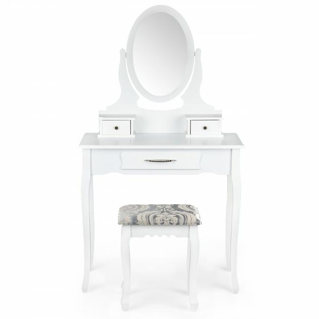 Toaletka kosmetyczna z regulowanym lustrem i taboret