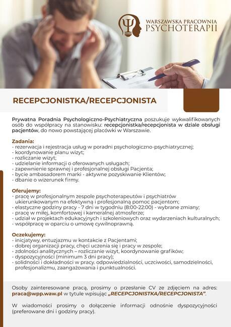 RECEPCJONISTKA/RECEPCJONISTA