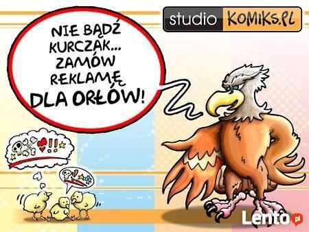 komiks reklamowy, logo, ilustracja z brand hero, rekama web