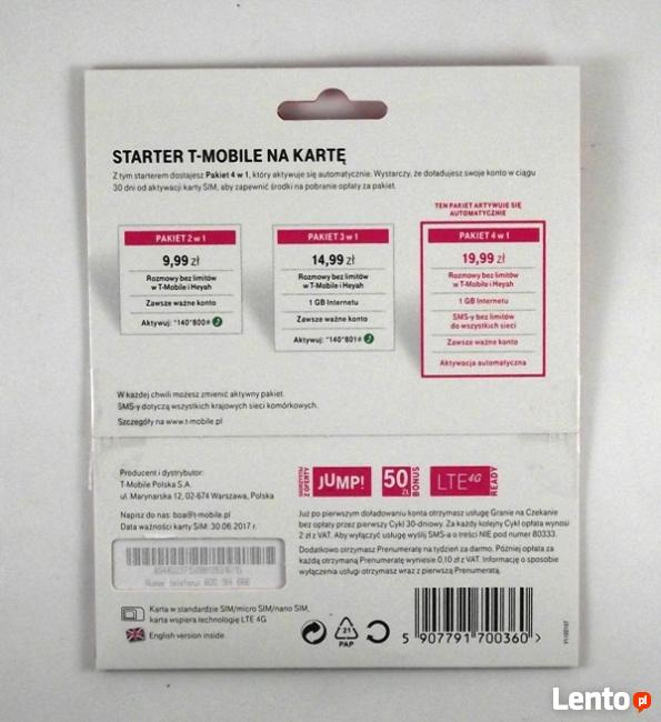 T-Mobile T Mobile Starter 1GB nielimitowane rozmowy i sms