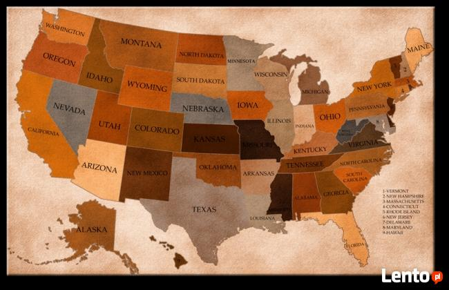Mapa Ameryki-140x88 cm obraz POLECAM