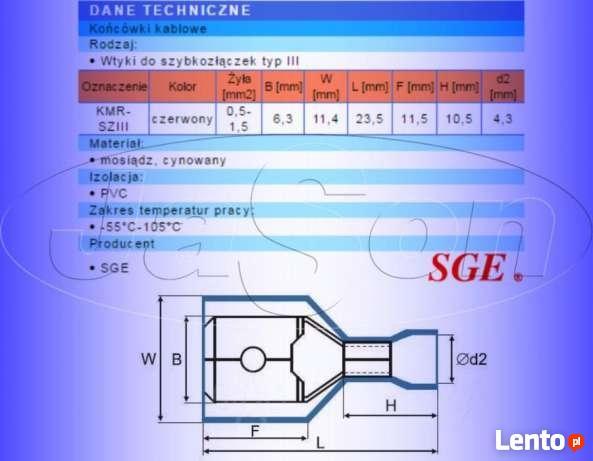Konektor izolowany 0,5-1,5mm do złączek T SGE 5szt