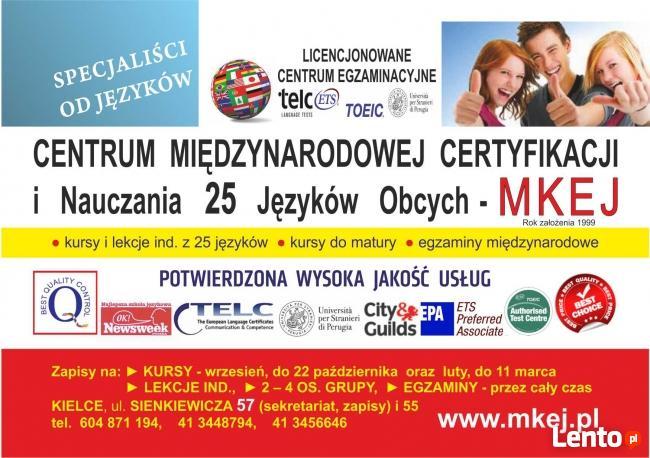 Kursy WAKACYJNE J. ANGIELSKIEGO- MKEJ Szkoła Językowa Kielce