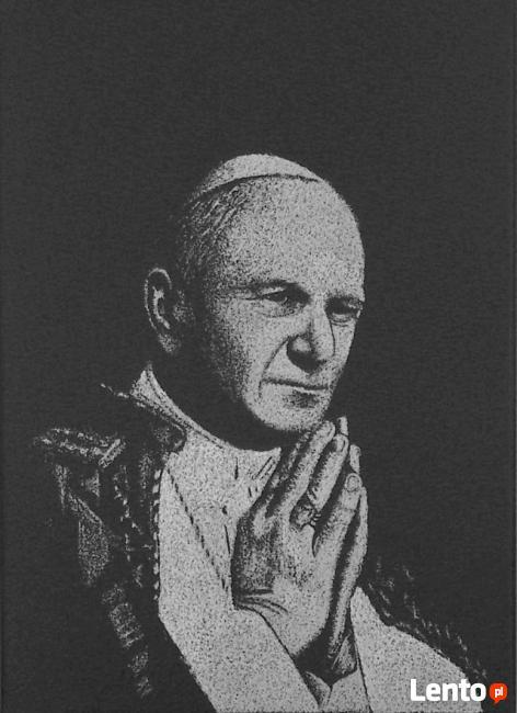 Papież Jan Paweł II - Obraz na blasze... Grawerka, Oryginał