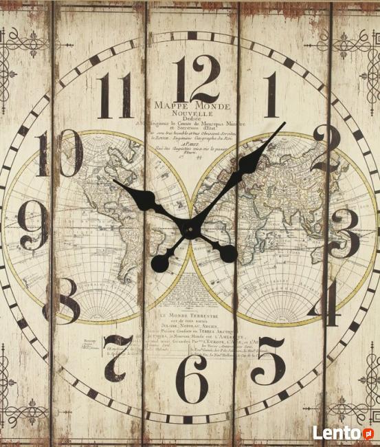 piękny duży zegar w stylu retro z drewnianą ramą