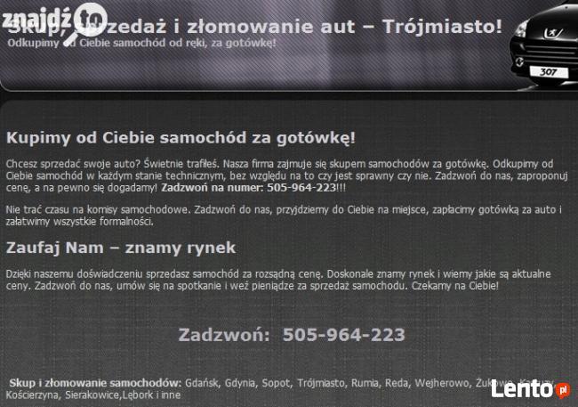 ZŁOMOWANIE KASACJA SKUP AUT TEL.505964223 LAWETA DARMOWA