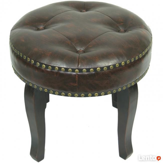 stylowy okrągły pikowany taboret krzesełko krzesło