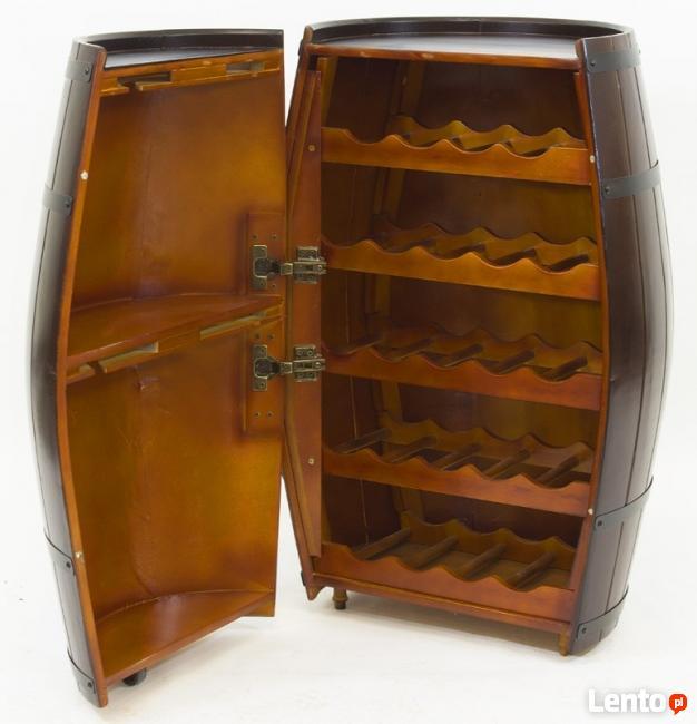 drewniana szafka na wino beczka