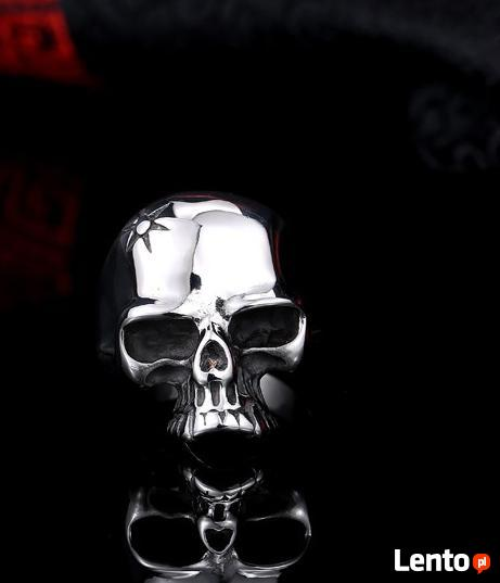 Sygnet czaszka nowy wzór titanium steel 316L