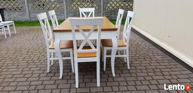 Stół glamour biały/dąb 160x90/240 rozkładany nowy PRODUCENT