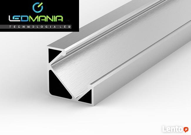 PROFIL LED Kątowy/Narożny Aluminiowy + KLOSZ 2mb