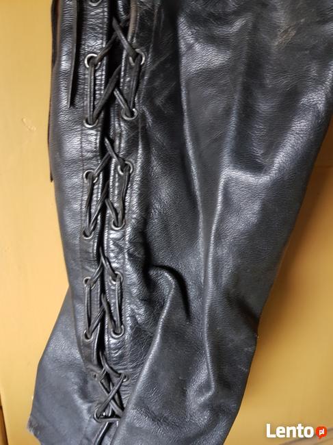 Mocna skóra spodnie motocykl na szelkach rozm 58