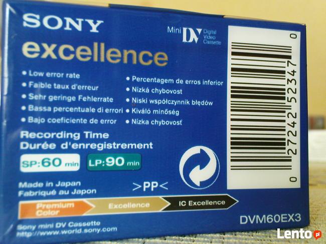 Kasety do kamery MiniDv Sony excellence o symbolu DVM60EX3