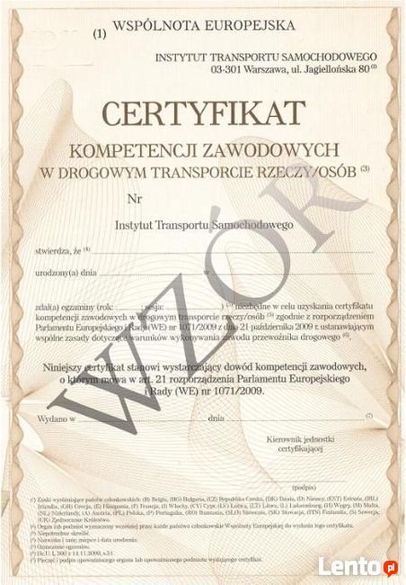 Certyfikat Kompetencji Zawodowych na przewóz RZECZY - FV