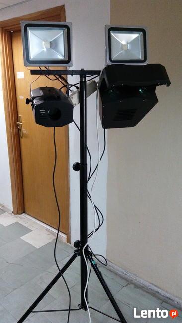 Efekty dyskotekowe LED, oświetlenie zestaw na statyw, POLECAM!