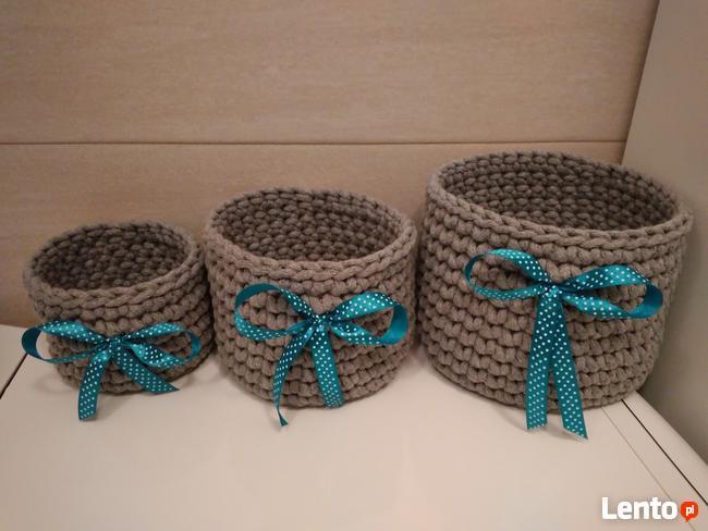 Zestaw koszyczków ze sznurka bawełnianego