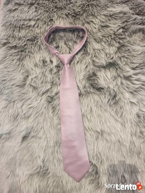 Krawat jasnoróżowy Luois Gianni Paris * krawat w kratkę róż