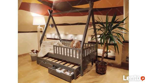 Łóżko dla dzieci TIPI szuflady i drugie spanie ekologiczne