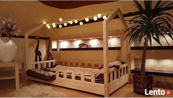 Łóżko domek z barierkami dziecięce Bella 120 x 60 cm