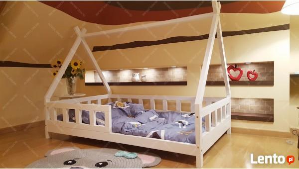 Łóżko domek z barierkami dla dzieci TIPI Oliveo 140 x 70 cm