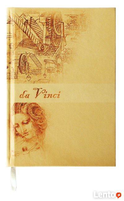 Notesy Da Vinci notatniki A5 w kratkę w ekoskórze