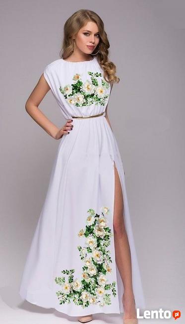 Suknia jest poślubna, końcowa z haftem