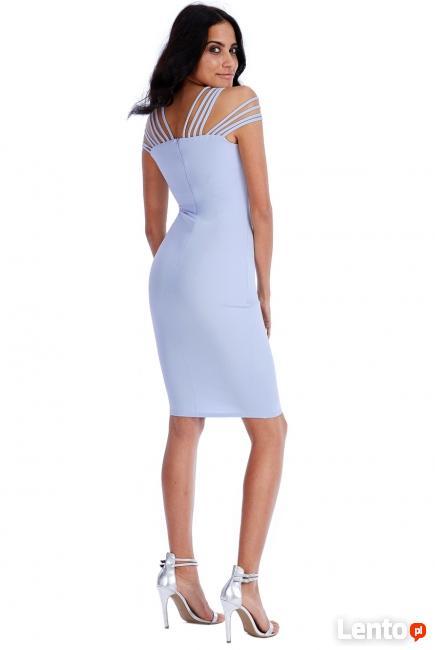 433c236859 Błękitna ołówkowa sukienka midi multi ramiączka Czeladź