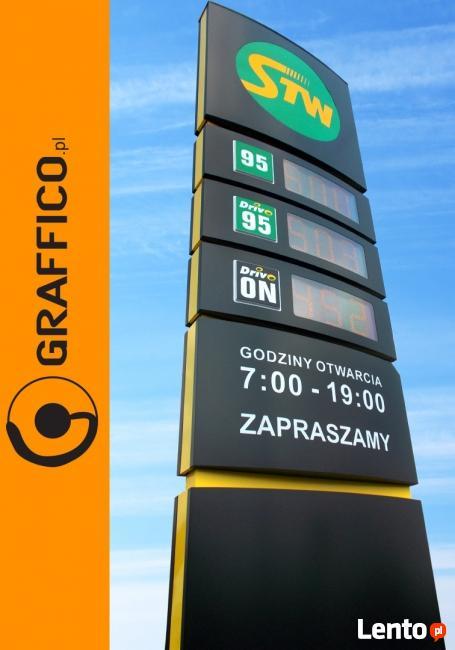 Pylony cenowe, wieże reklamowe dla stacji paliw _ GRAFFICO
