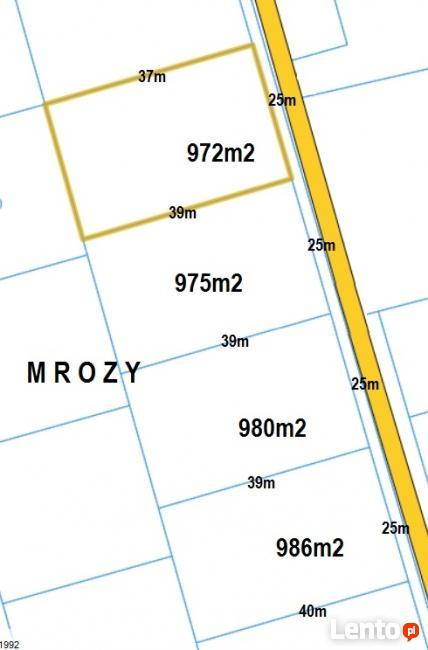 7 działek budowalanych MROZY 25 x 40m, 1000m2