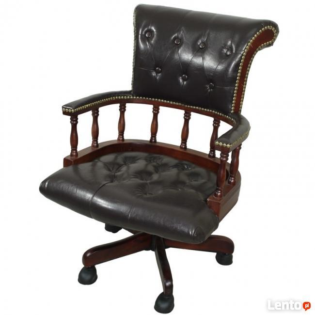 stylowy drewniany fotel biurowy gabinetowy na kółkach