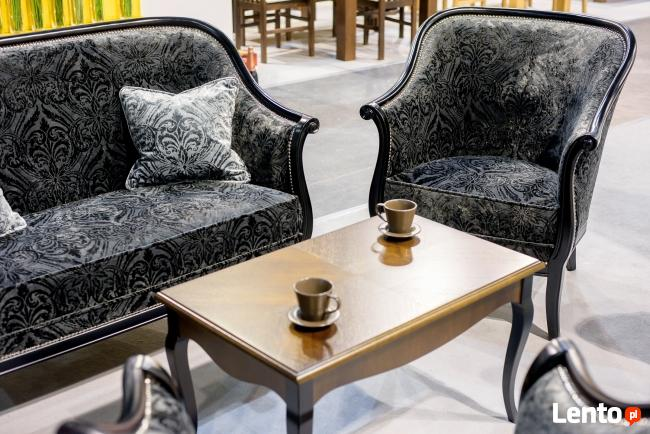 Stylowy włoski salonik Sofa Fotel Stolik kawowy Meble czarne
