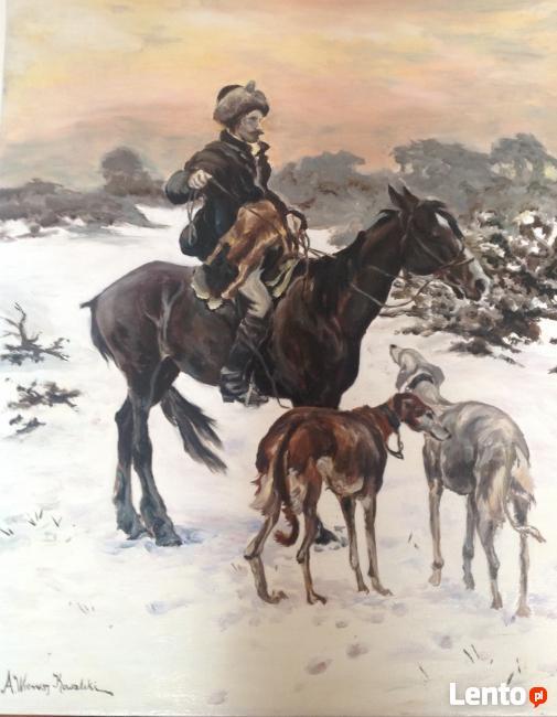 ,,Na polowaniu - Kopia obrazu Alfreda Wierusza-Kowalskiego