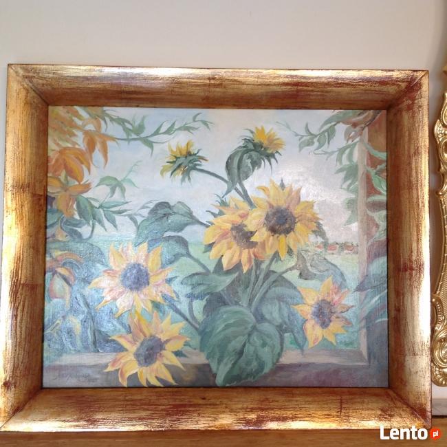 Obraz olejny ,,Słoneczniki w oknie ,,