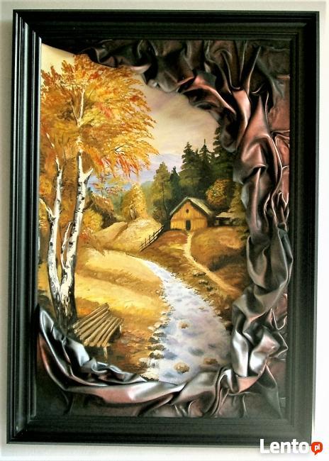 Obraz ze skóry, malowany ręcznie, nowoczesny, na prezent