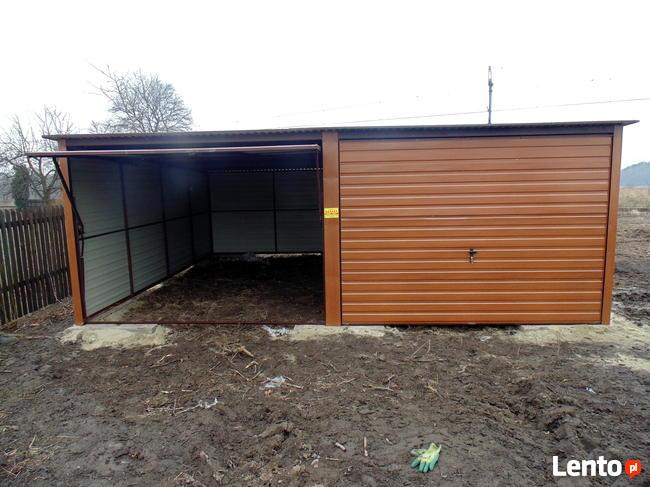 Solidny garaż blaszany 6x5 złoty dąb WSZYSTKIE WYMIARY