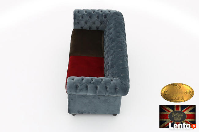 Chesterfield sofa 3 os z zamszu mix
