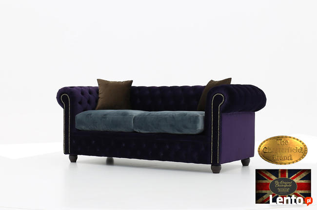 Chesterfield sofa 3 os z zamszu mix