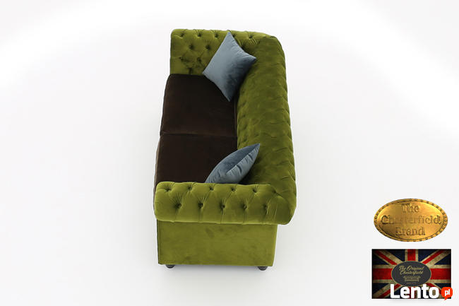 Chesterfield sofa 3 os z zamszu mix rozne kolory