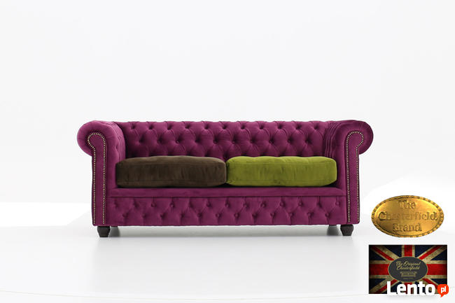 Chesterfield sofa 3 os z zamszu rozne kolory