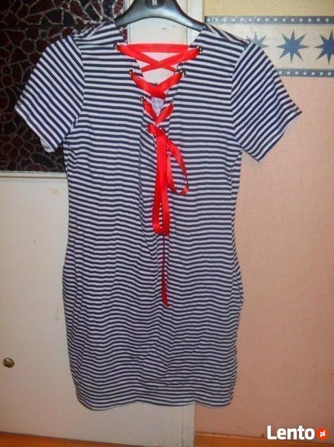 Nowa Bawełniana sukienka w paski pasy tuba wiązana kieszenie