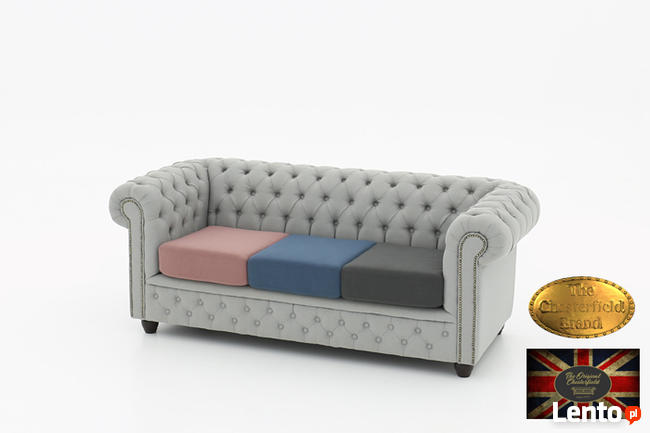 Chesterfield sofa 3 os z materialu mix Pitch