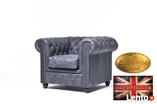 Chesterfield fotel 1 os Vintage czern Skora