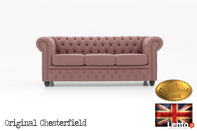 Chesterfield sofa 3 os z materialu Pitch roz